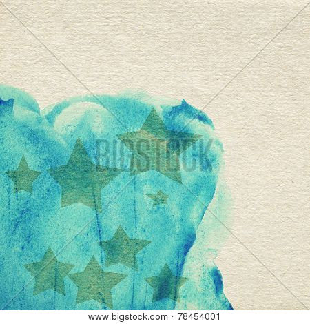 Painted blue watercolor background on brown paper with stars
