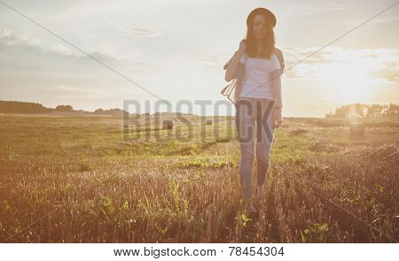 Young Alonel Free Sad Woman Hipster In Fall Field