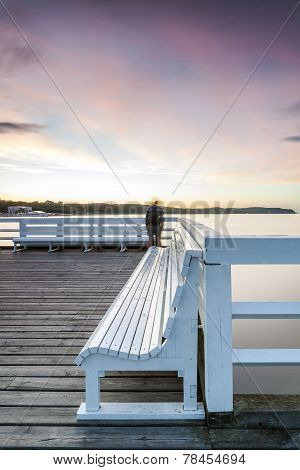 Romantic Bench On The Longest Wooden Pier In Europe