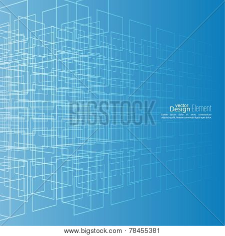 Abstract vector background with glowing grid.