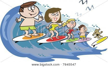 Family surfing cartoon