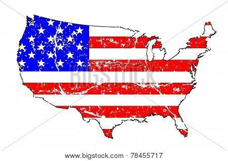 Usa Grunge Flag Map