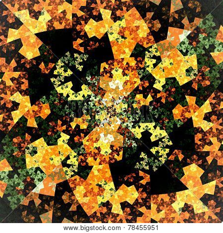 Abstract Symmetrical Orange Hexagon Fractal  Mosaic