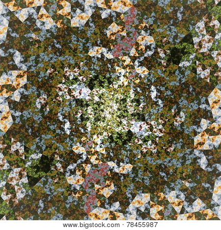 Abstract Symmetrical Green Hexagon Fractal  Mosaic