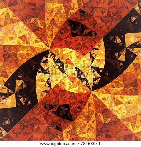 Abstract Symmetrical Orange Hexagon Fractal  Mosaic