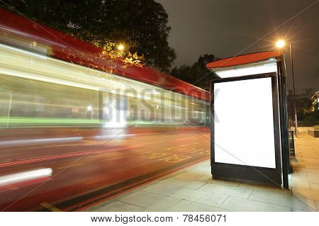 Blank Billboard In Bus Stop