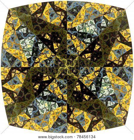 Abstract Symmetrical Yellow Hexagon Fractal  Mosaic