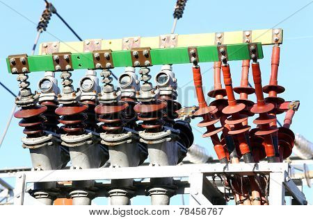 Copper Terminals Of A Power Plant To Produce Electricity