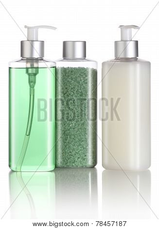 Set of bath salt shampoo and liquid soap
