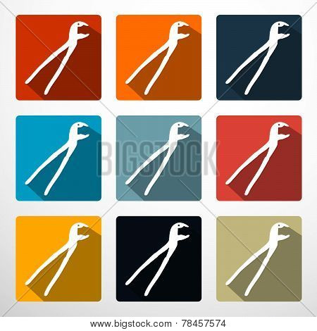 Pliers - Pincers Flat Design Icons Set