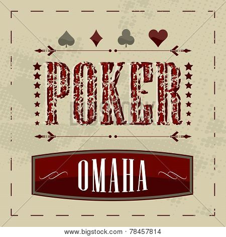 Omaha poker retro background for vintage design