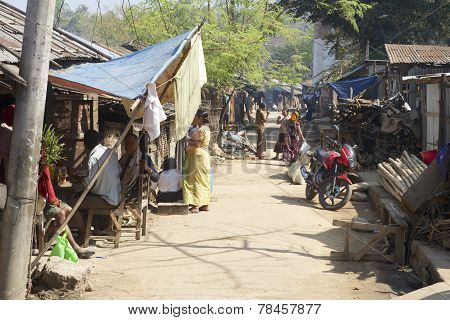 People at the street in Bandarban, Bangladesh.