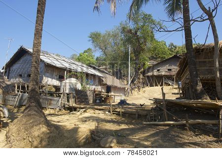 Traditional Marma hill tribe buildings exterior, Bandarban, Bangladesh.