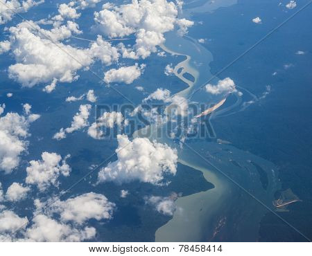 Aerial view of amazon forest and river