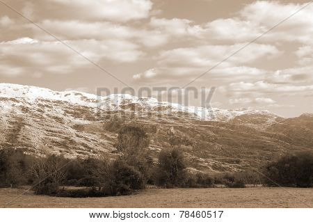 Rocky Mountain And Fields Countryside Snow Scene