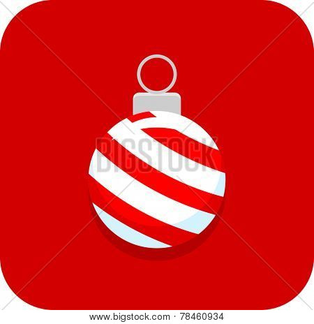 Christmas ornament with peppermint candy cane pattern icon