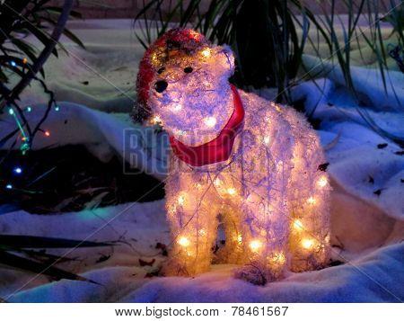 White Bear with Xmas Lights