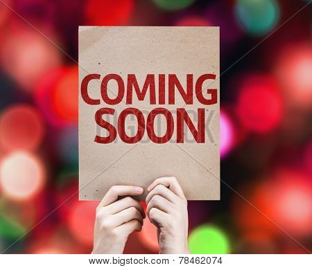 Coming Soon card with colorful background with defocused lights
