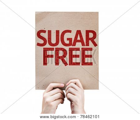 Sugar Free card isolated on white background