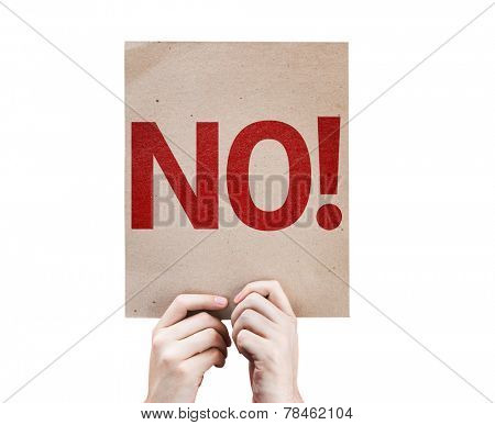 No! card isolated on white background