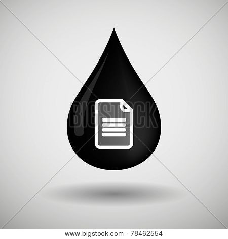 Oil Drop Icon With A Document