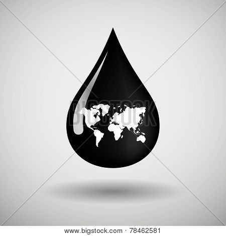 Oil Drop Icon With A World Map