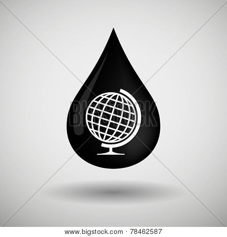 Oil Drop Icon With A World Globe