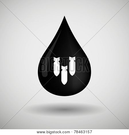 Oil Drop Icon With Bombs