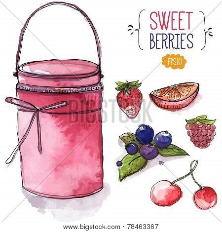 Jar Of Pink Jam And Berries. Strawberry, Blackberry With Leaves, Cherry, Raspberry And Orange Slice.