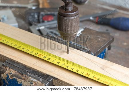 Drilling Of Wood With An Old Hand Drill