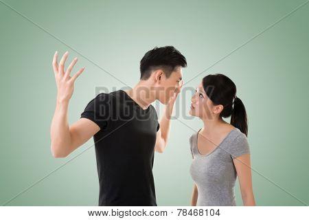 Asian couple argue, closeup portrait with two people.
