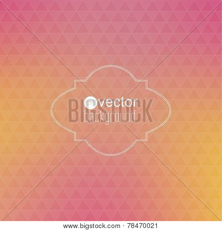 Abstract vector background with triangles and vintage frame.