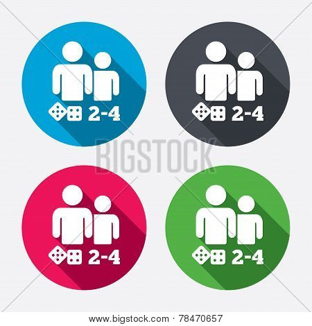 Board games sign icon. 2-4 players symbol.