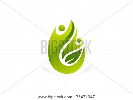 Green human body healthy success logo