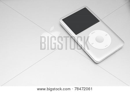 Ipod Classic 160 Gb On Silver Macbook. Studio Shot.