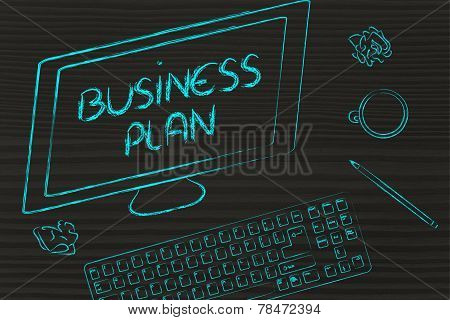 Business Plan Text On Computer Screen, Desk With Keyboard And Coffee