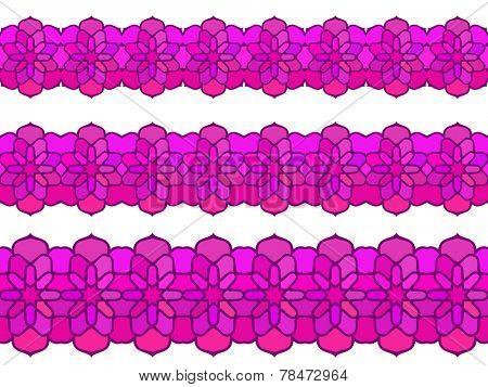 Ornamental floral magenta color Seamless border Vector set