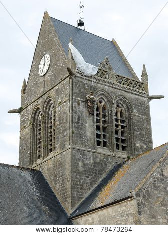 Church of St Mere Eglise, Normandy - Paratrooper
