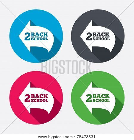 Back to school sign icon. Back 2 school symbol.