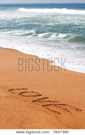 love written on beach