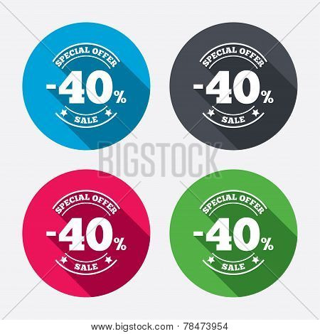 40 percent discount sign icon. Sale symbol.