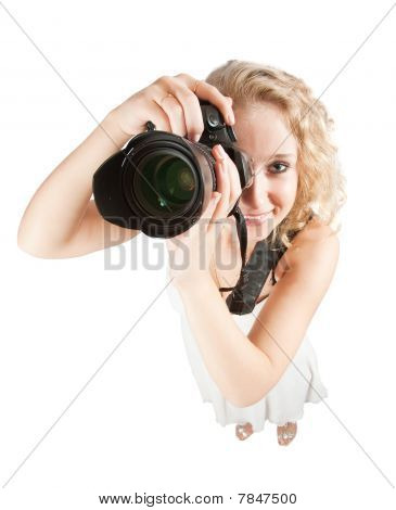 Top View Of Photographer Girl