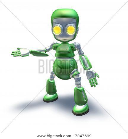 Cute Green Metal Robot Character Showing