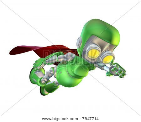 Cute Green Metal Robot Superhero Character