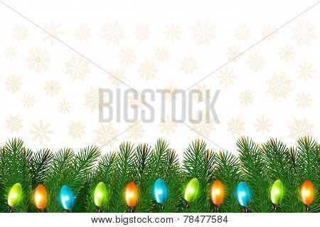 Christmas Background With Colorful Garland And Branches Vector Illustration