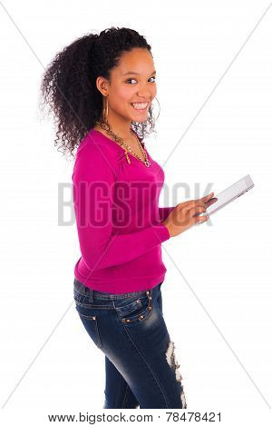 Portrait Of Young Happy African Woman Using Digital Tablet