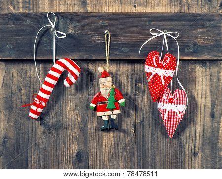 Christmas Decoration Handmade Toys On Wooden