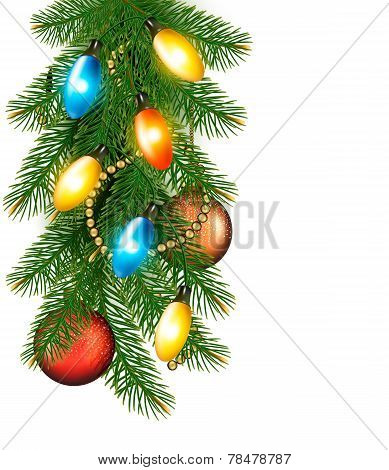 Christmas Background With Colorful Garland, Baubles And Branches Vector Illustration
