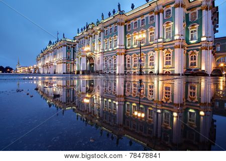 Russia, St. Petersburg, Hermitage Buildings Reflected In Water, Evening.
