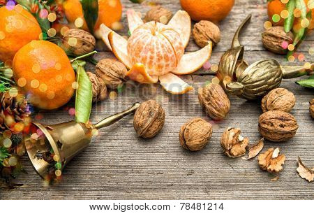 Mandarin Fruits, Walnuts And Christmas Tree Branches